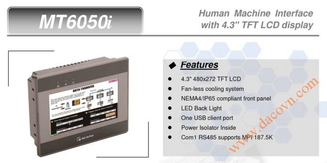 "MT6050i HMI Weintek – Easyview màn hình HMI 4.3"" màu MT6050i"