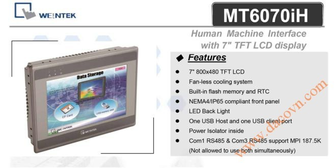 "MT6070iH HMI Weintek – Easyview màn hình HMI 7"" màu MT6070iH2EV"