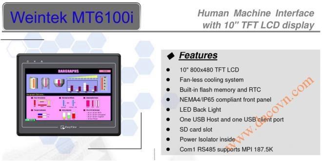 """MT6100i HMI Weintek – Easyview màn hình HMI 10"""" màu MT6100iV2"""