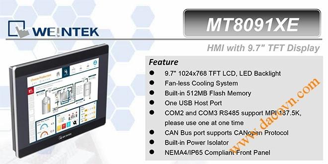 MT8091XE HMI Weintek – Easyview màn hình HMI 9.7 Inch mầu MT8091XE