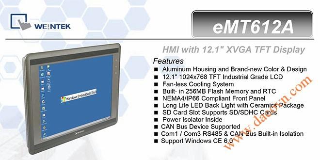 eMT612A HMI Weintek – Easyview Máy tính công nghiệp 12.1 Inch mầu