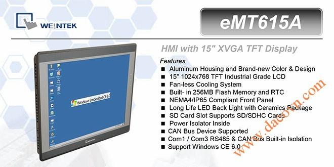 eMT615A HMI Weintek – Easyview Máy tính công nghiệp 15 Inch mầu eMT615A