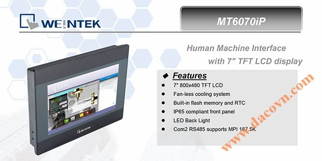 MT6070iP HMI Weintek – Easyview màn hình HMI 7 Inch mầu MT6070iP