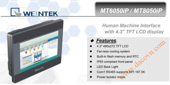 MT8050iP HMI Weintek – Easyview màn hình HMI 4.3 Inch mầu, Ethernet MT8050iP