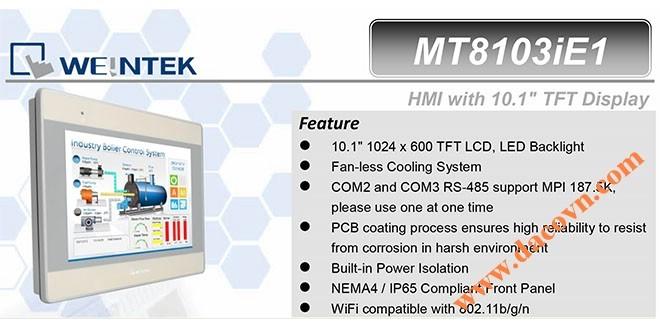 MT8103iE HMI Weintek – Easyview màn hình HMI 10.1 Inch mầu, Wifi MT8103iE