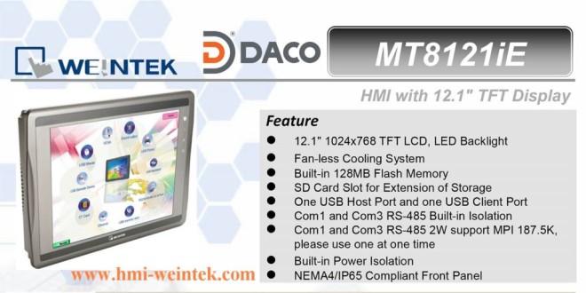 MT8121iE HMI Weintek – Easyview màn hình HMI 12 Inch mầu, Ethernet