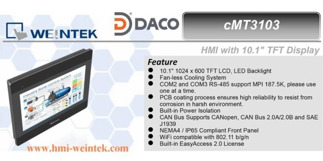 cMT3103 Màn hình cảm ứng Cloud HMI Weintek 10 Inch, màu, Ethernet