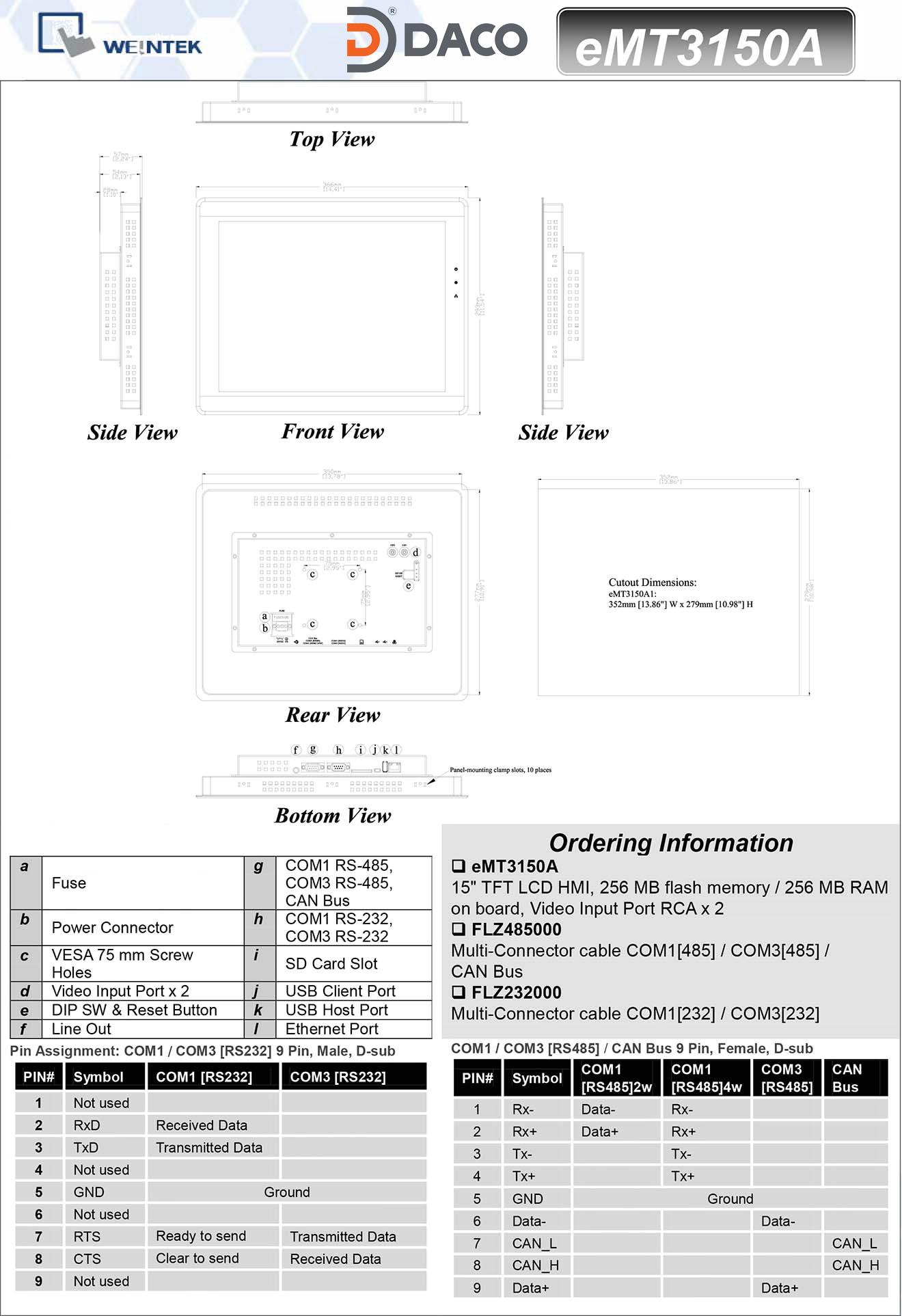 Man hinh cam ung HMI Weintek eMT3150A - 15Inch