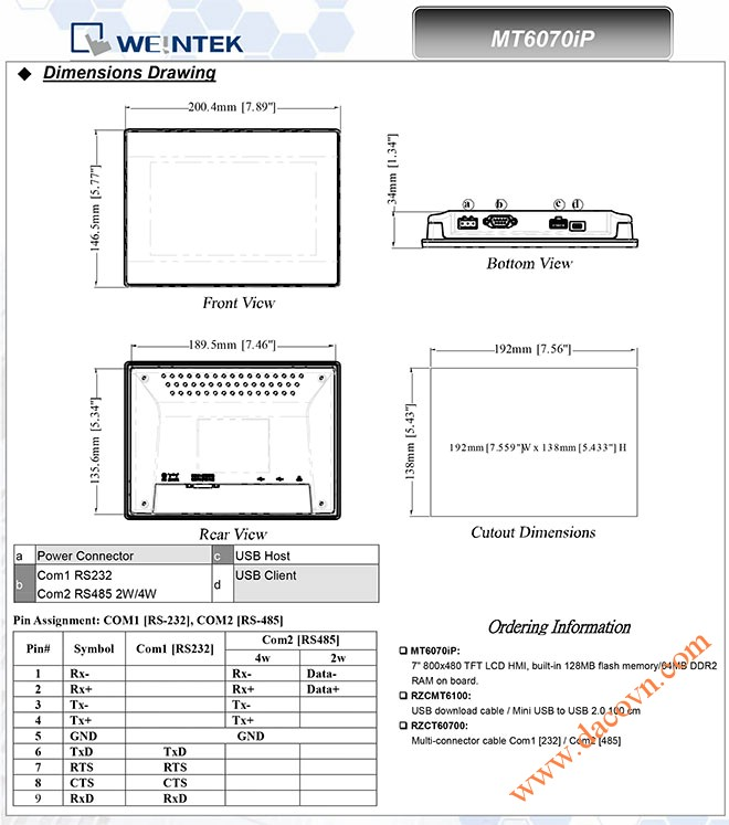 Man hinh cam ung HMI Weintek MT6070/8070iP 7 Inch