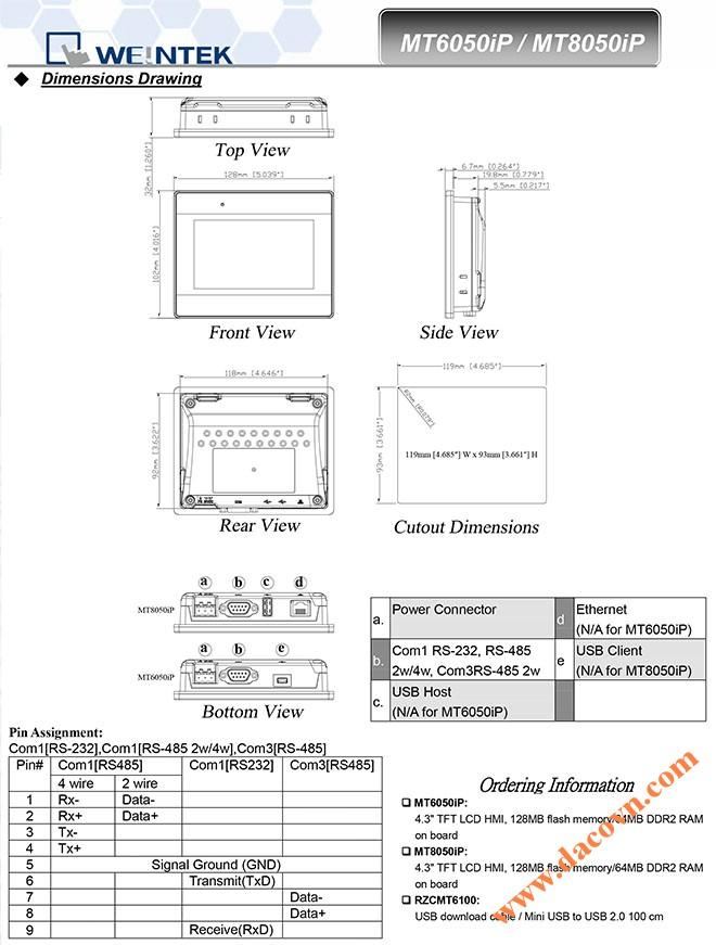 Man hinh cam ung HMI Weintek MT8050iP 4.3 Inch