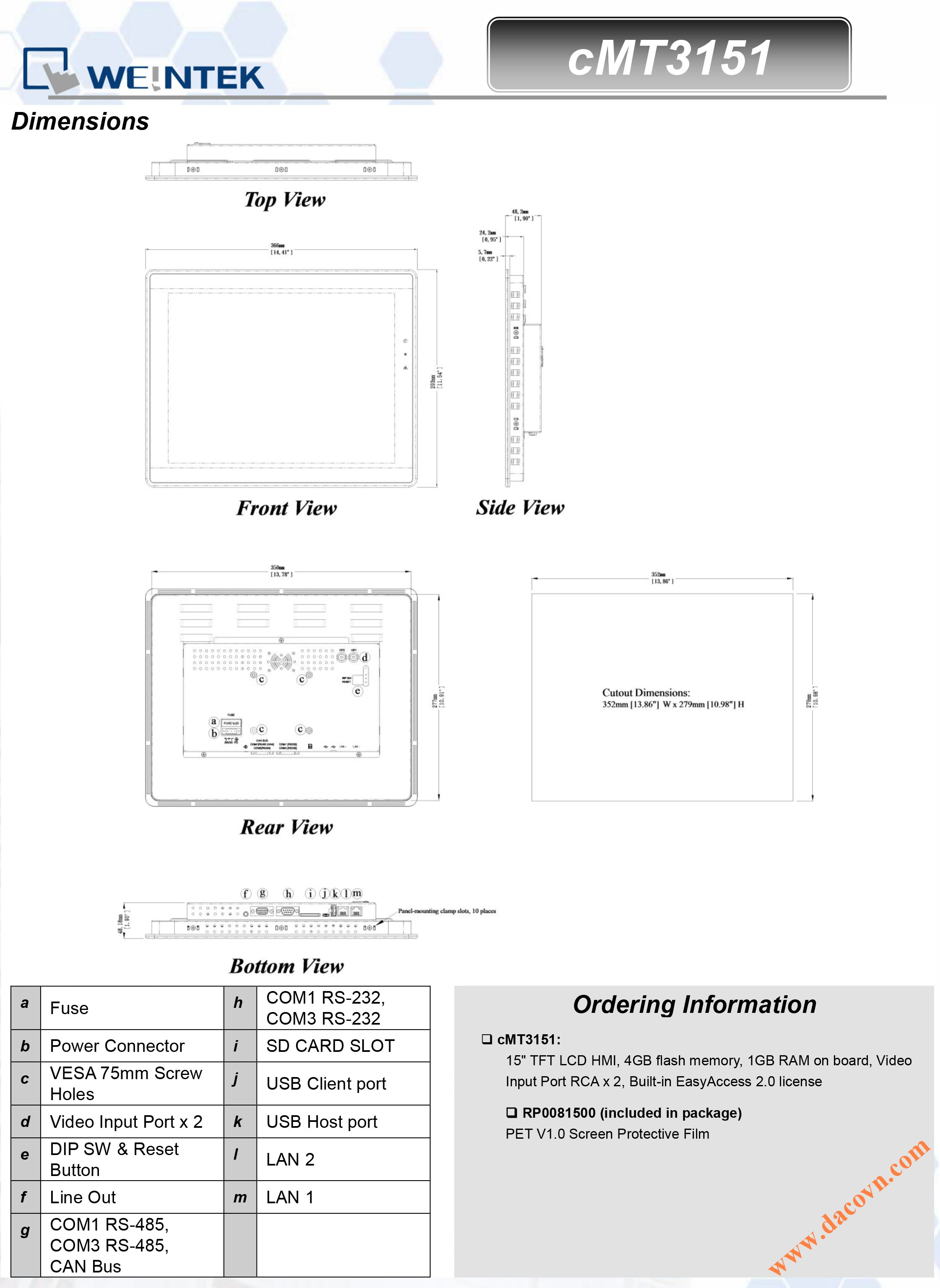 cMT3151 Màn hình cảm ứng điều khiển hiển thị cMT-SVR - Kích thước