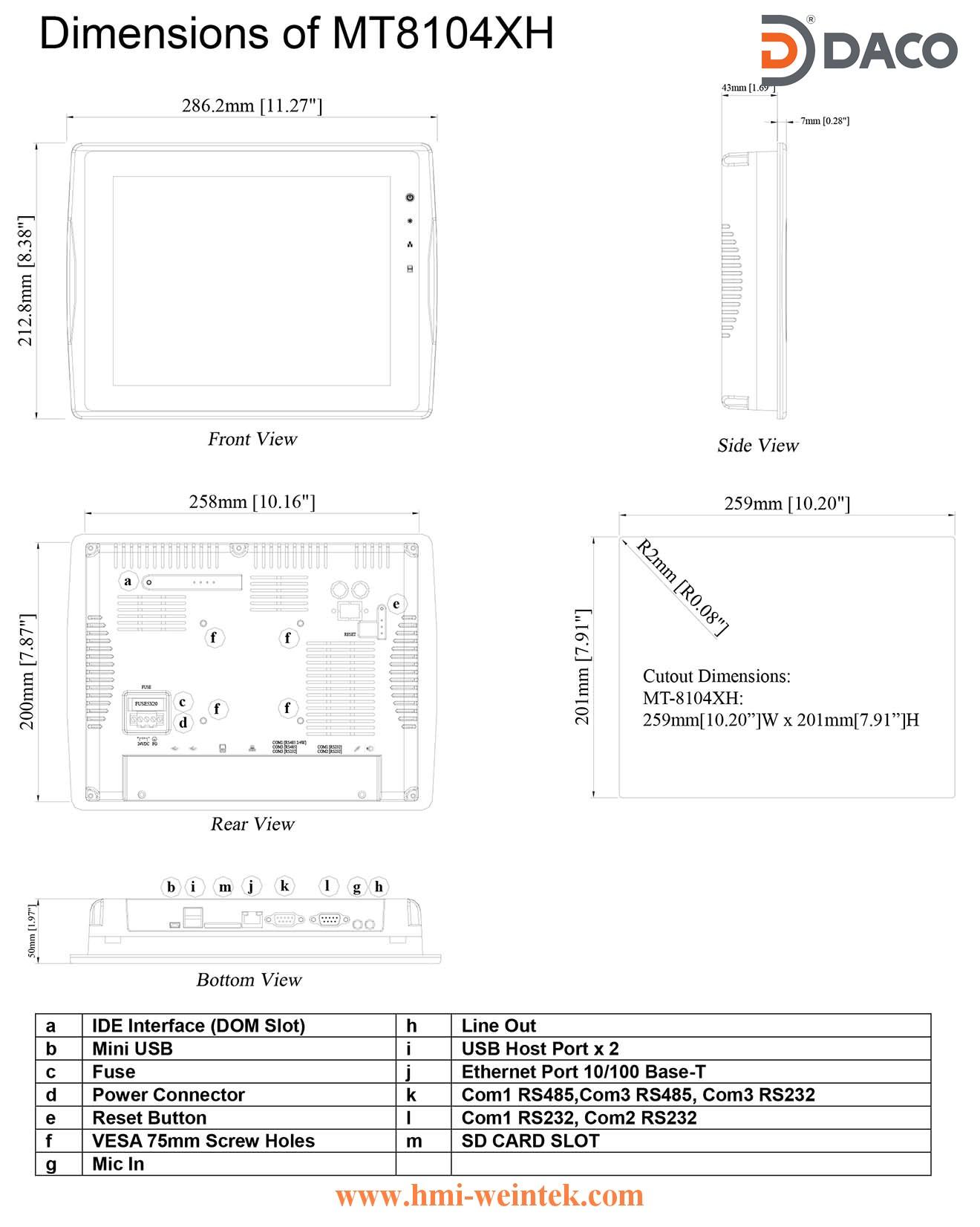 MT8104XH-Dimension Man hinh cam ung HMI Weintek